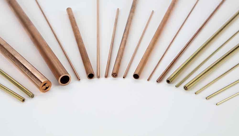 Electrodos tubulares de cobre y latón, de agujero único o multicanales en distintas longitudes.