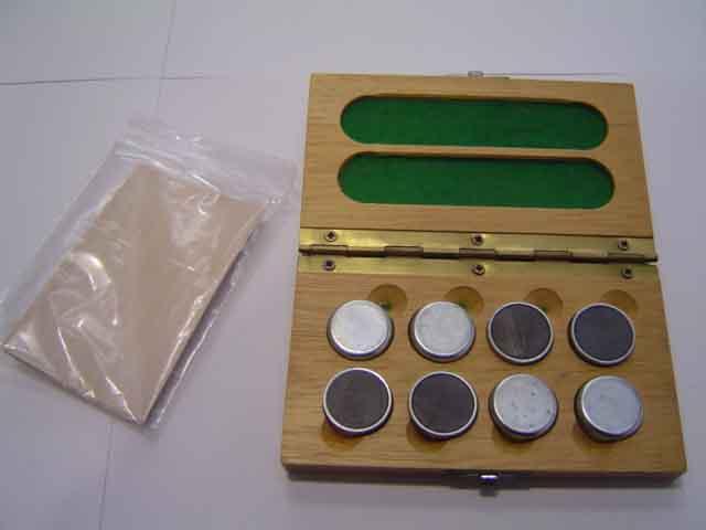 Kit de 6 imanes de gran adherencia (25 Mega-Gauss) para soporte de piezas con estuche de madera.